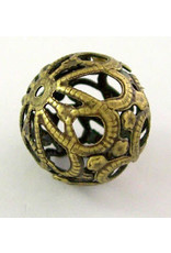 Filigree Bead Antique Brass  18mm  x5