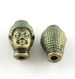 Buddha Head Guru Bead Bronze Green  13x9x8mm  x5