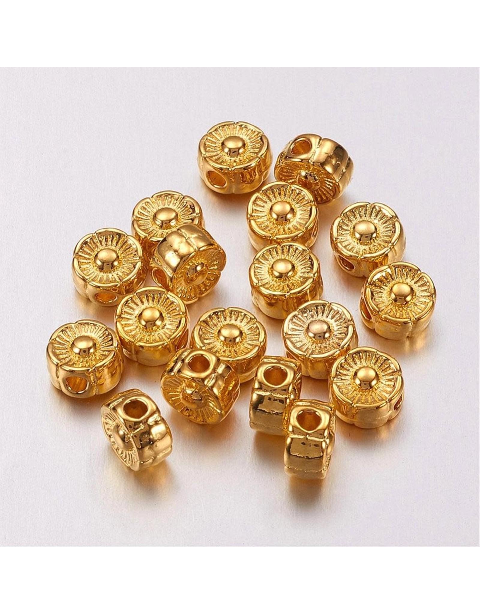Flower Bead Gold 6mm  x20