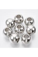 Large Hole Bead Platinum 14x12mm   x10