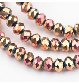 4x3mm Rondelle Chinese Crystal  x140 Rose Gold AB