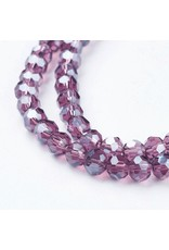 4mm Round Chinese Crystal  x100 Transparent Purple Lustre