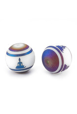 Round Meditation Pose 10mm   White/Blue Matte  x10