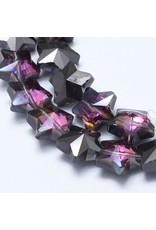 13mm Star Chinese Crystal   Purple Gunmetal Plated Strand x25