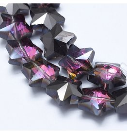 13mm Star Chinese Crystal   Purple Gunmetal Plated Strand x25