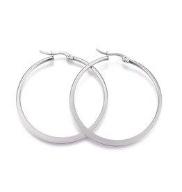 Hoop Earring 26x24x2mm Stainless Steel  x1 Pair