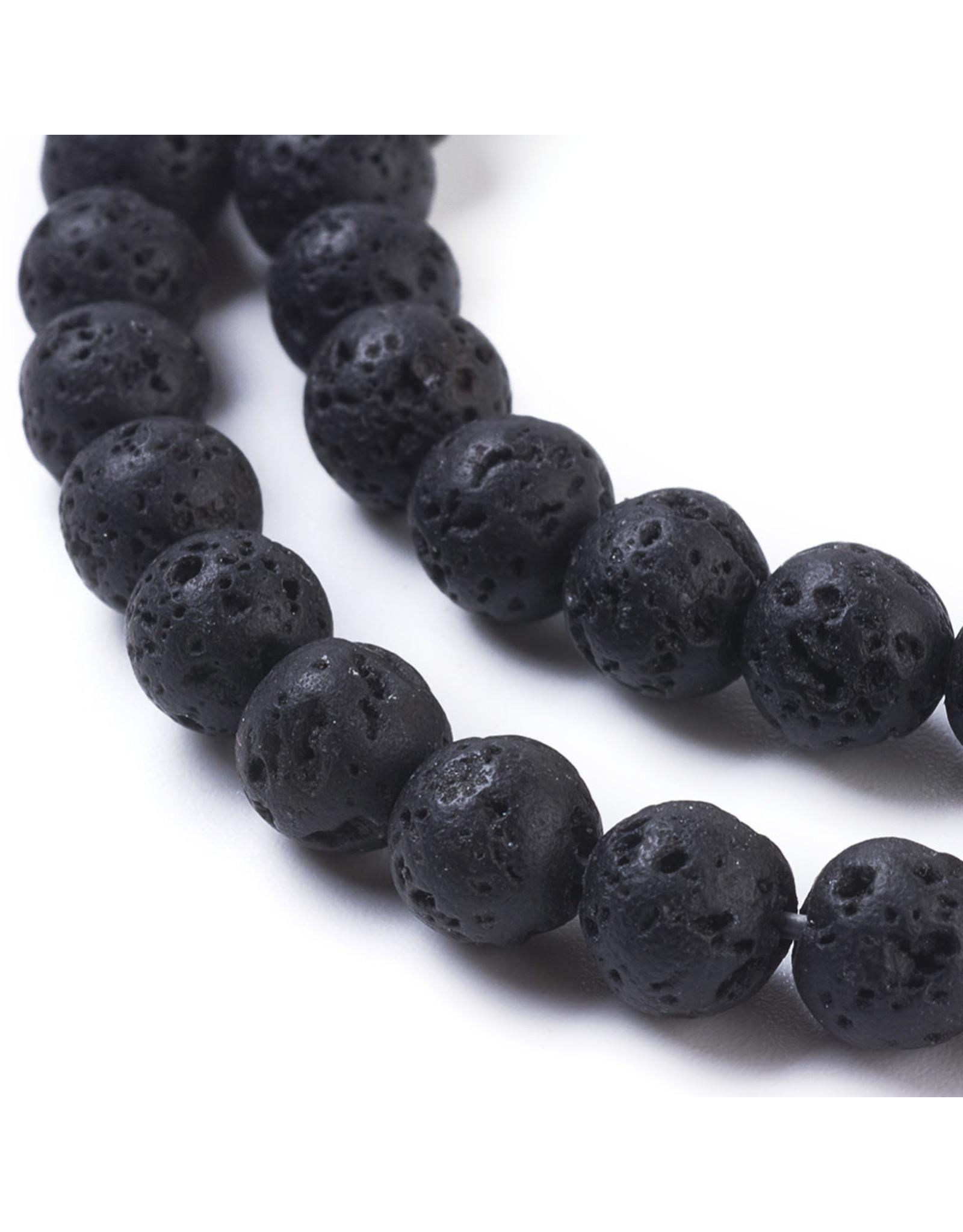 "Lava 6mm Black  15"" Strand  apprx 60 beads"