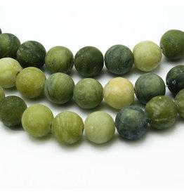 "Taiwan  Jade Matte 6mm Green  15"" Strand  apprx 60 beads"
