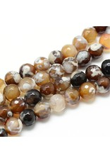 """Fire Agate 6mm Brown  15"""" Strand  apprx 60 beads"""