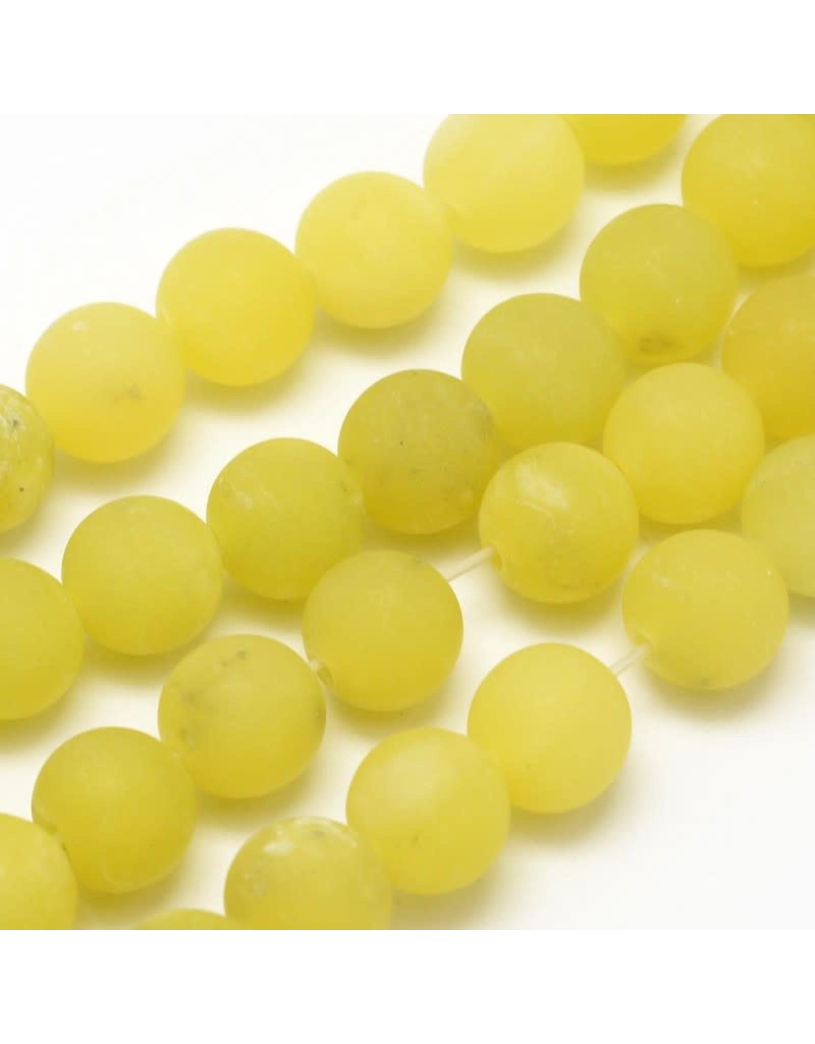 "Lemon Jade Matte 8mm Yellow  15"" Strand  Approx  x46"
