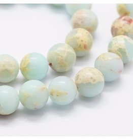 "Aqua Terra Jasper 8mm Blue/Brown  15"" Strand  Approx  x46"