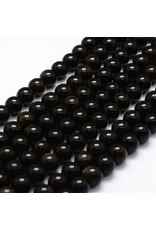 "Obsidian Golden Sheen 8mm Black/Gold 15"" Strand  Approx  x46"