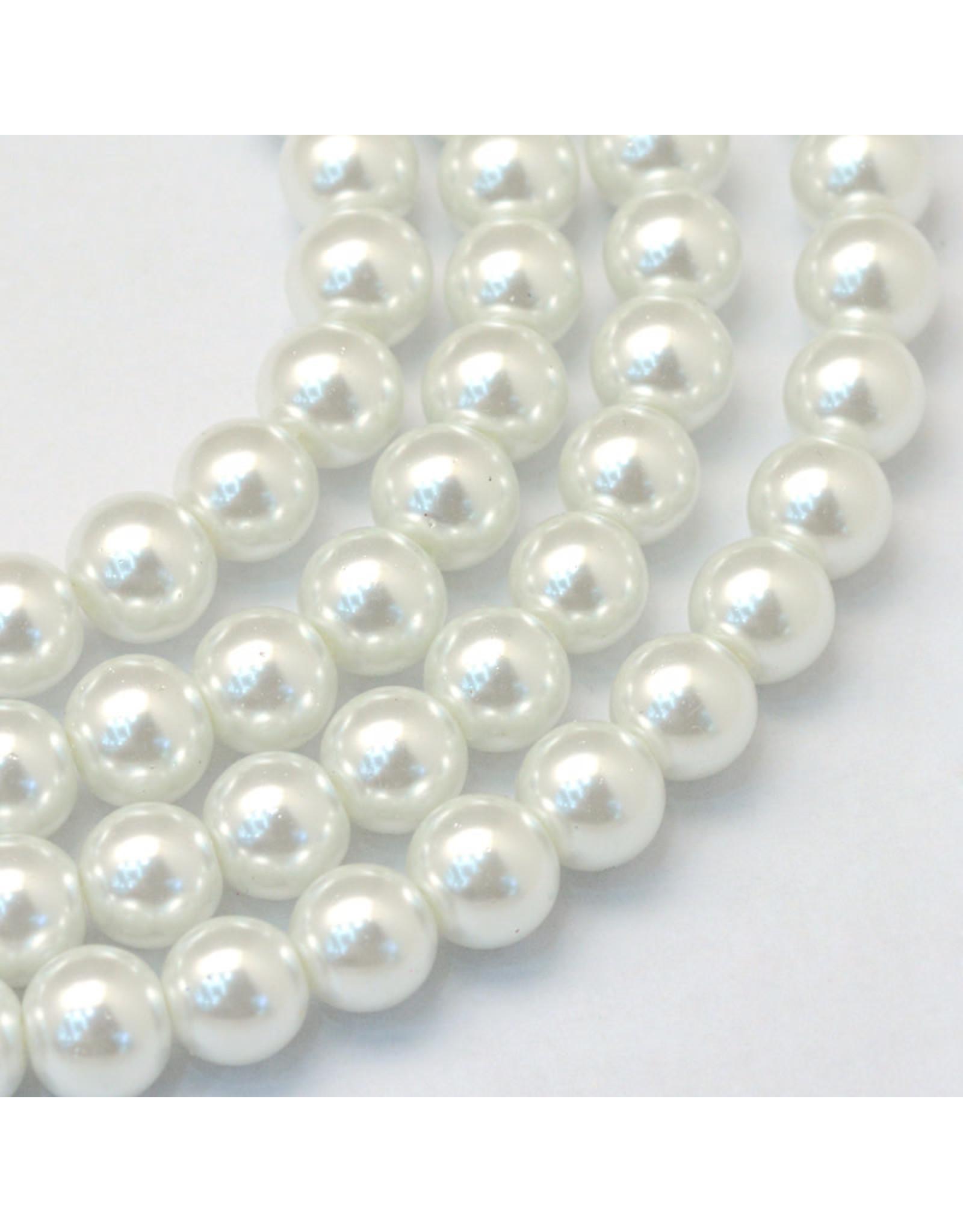 3mm Round Glass Pearl White  x195