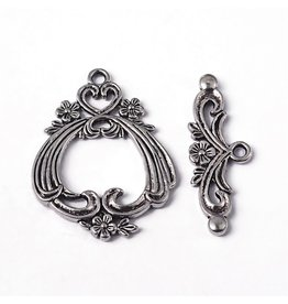 Toggle Clasp Large 38x29mm Flower  Antique Silver  NF  x5