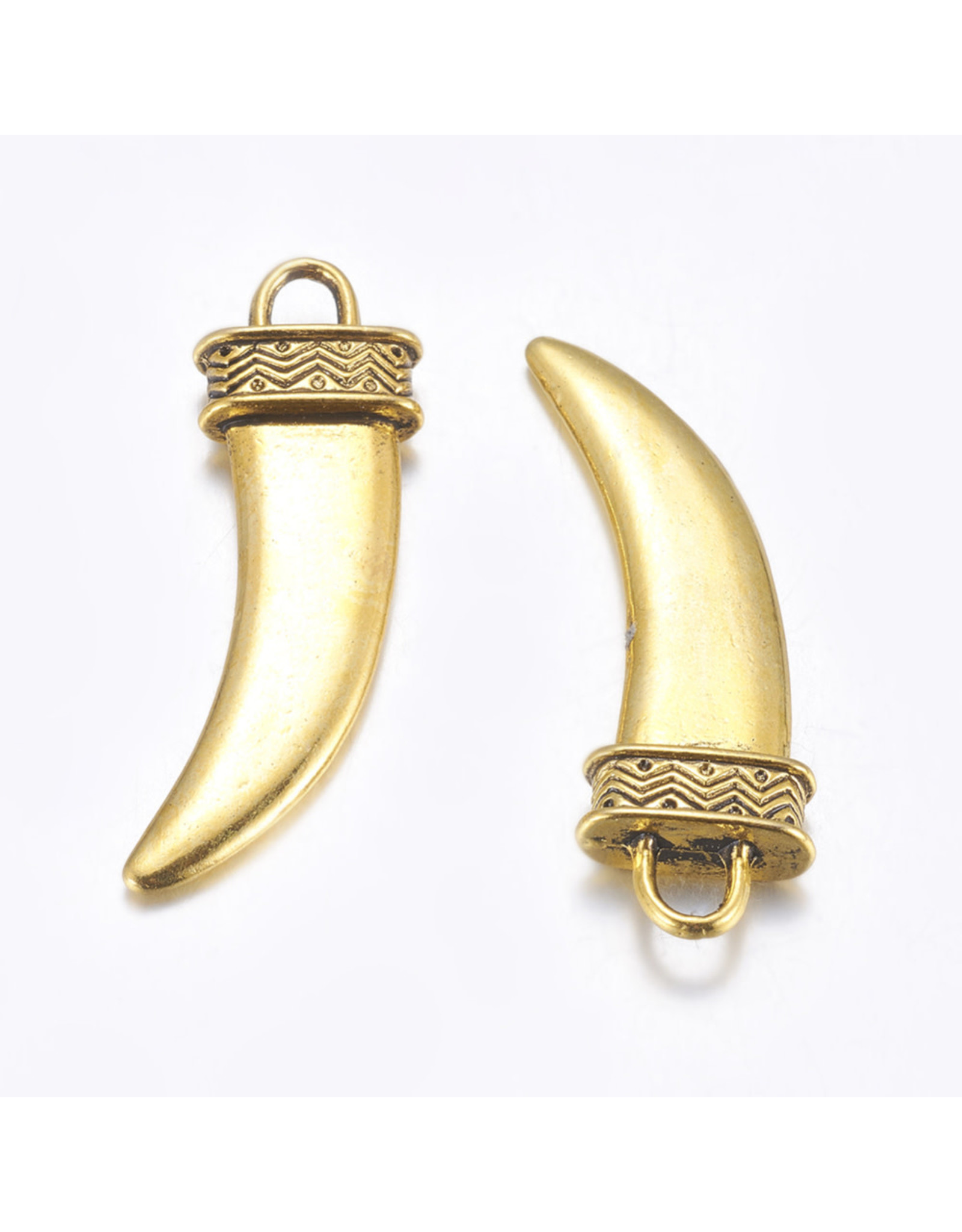 Claw or Horn Antique Gold 42x13mm    x2