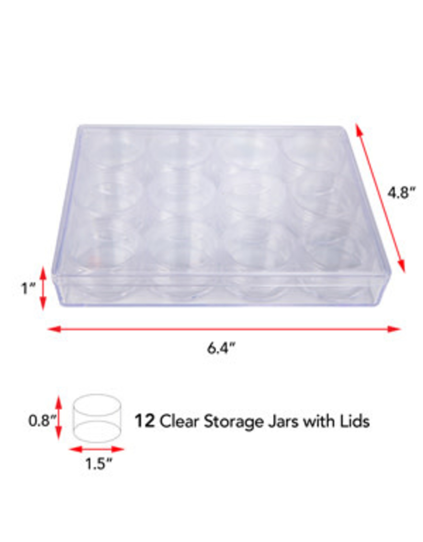 12 Clear Jar with Screw Lids  3.8x2cm in Box 16.2x12.2x2.5cm
