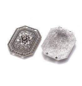 Flower Link Pendant 44x35x5mm Antique Silver x1
