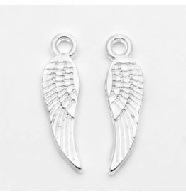 Wing Charm Silver 18x5mm NF  x10