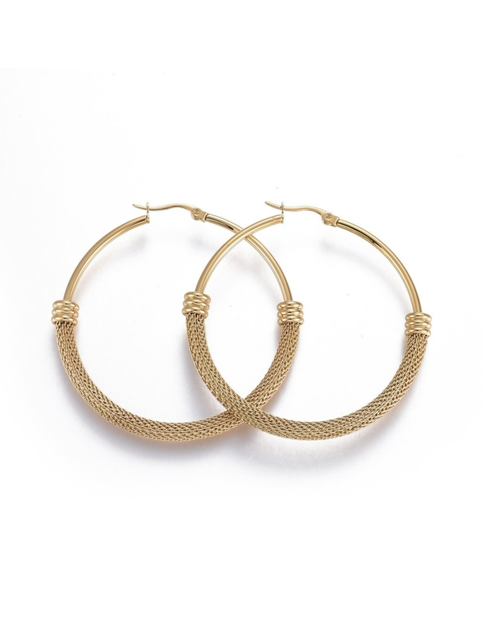 Hoop Earring 56x6mm Stainless Steel  Gold x1 Pair