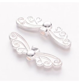 Wing Bead Silver 6.5x22x3mm NF  x10