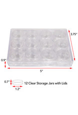 12 Clear Jar with Screw Lids  1.2x0.7cm in Box 12.7x9.5x2.3cm