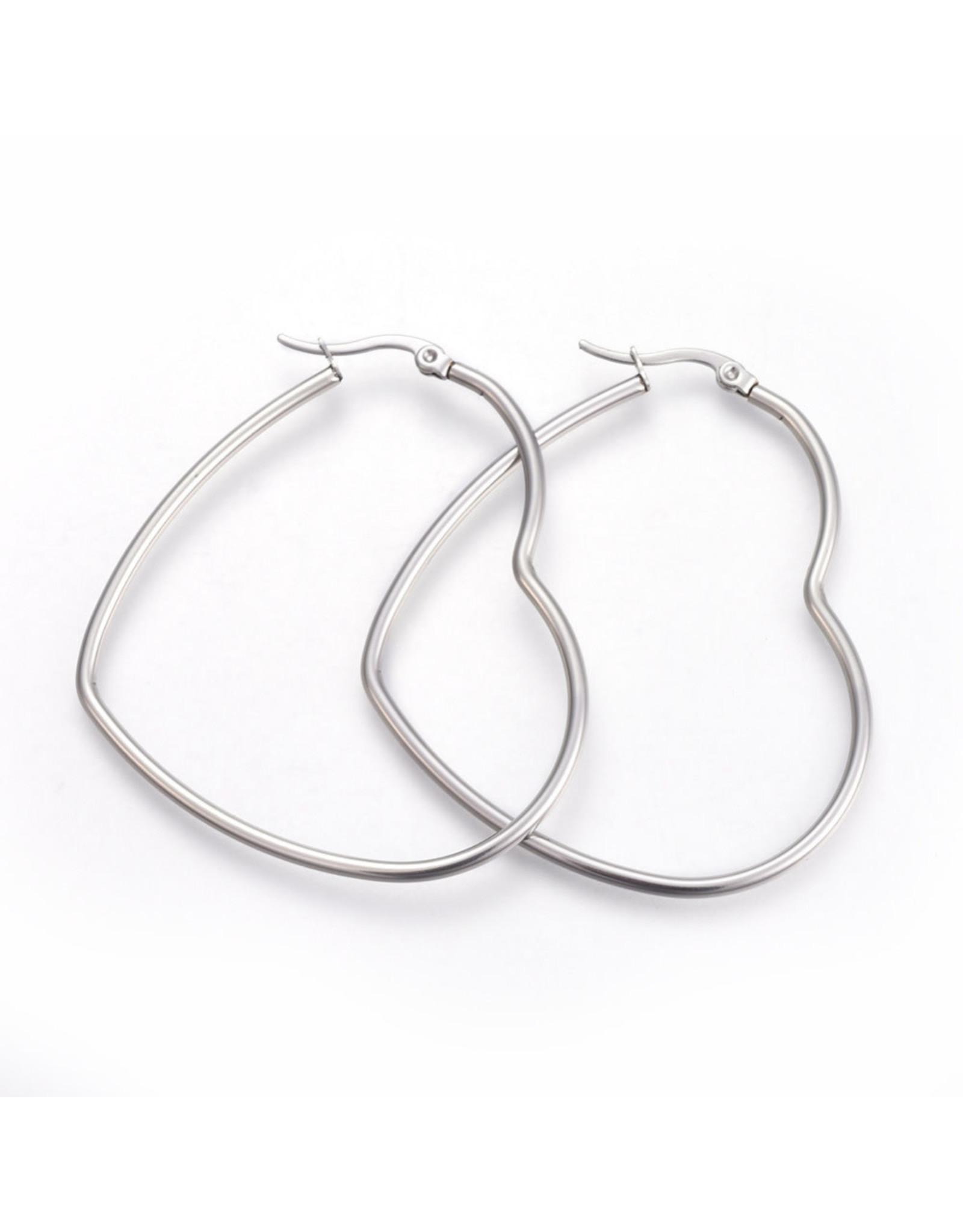 Hoop Earring Heart 66x57mm Stainless Steel  x1 Pair