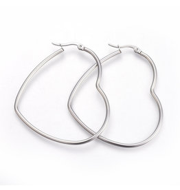 Hoop Earring Heart 66x57mm Stainless Steel  x1 Pair
