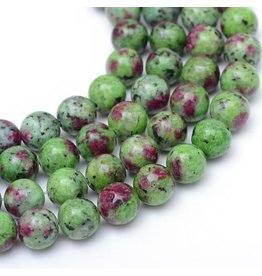 """Ruby in Zoisite 8mm Green/Red  15"""" Strand  Approx  x46"""