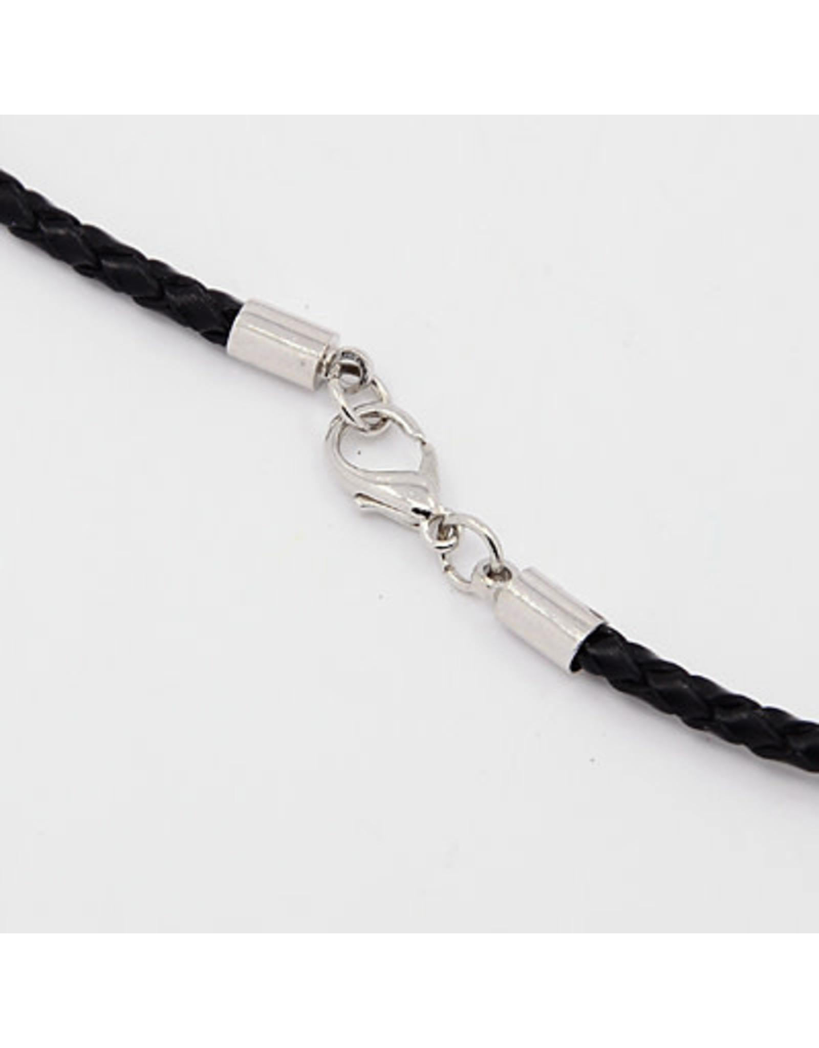 "Leather Cord Braided  3mmx18"" Black  x1"