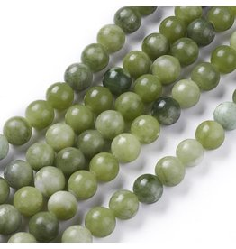 "Taiwan Jade  8mm Green  15"" Strand  Approx  x46"