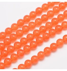 "Malaysia Jade Dyed 8mm Orange 15"" Strand Approx x46"
