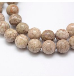 "Chrysanthemum Stone 8mm Light Brown 15"" Strand Approx x46"