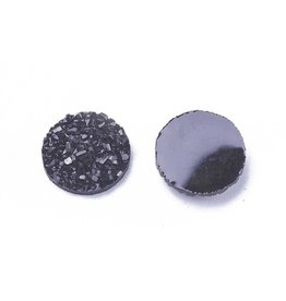 Druzy Round  Resin Cabochon 12x3mm Jet Black  x10