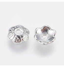 Bead Cap Flower 6mm Platinum   x50  NF