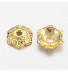 Bead Cap Flower 6mm  Gold   x50  NF