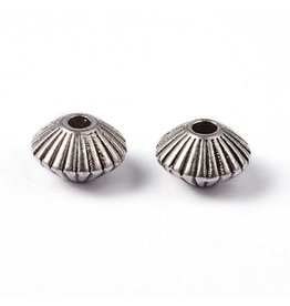 Bicone Spacer Bead Antique Silver 8x5mm x50 NF