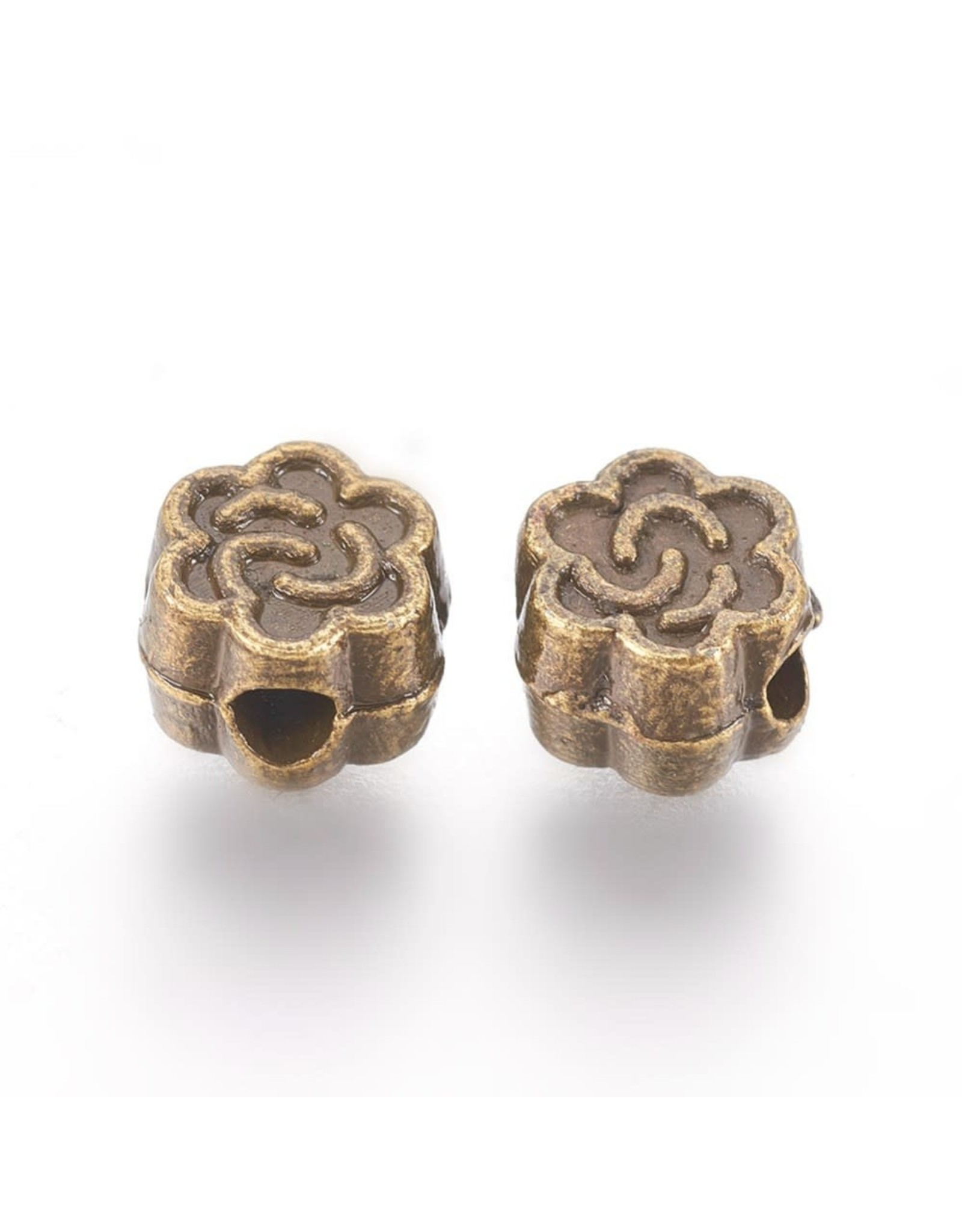 Flower Bead Antique Brass 5x3mm x50 NF