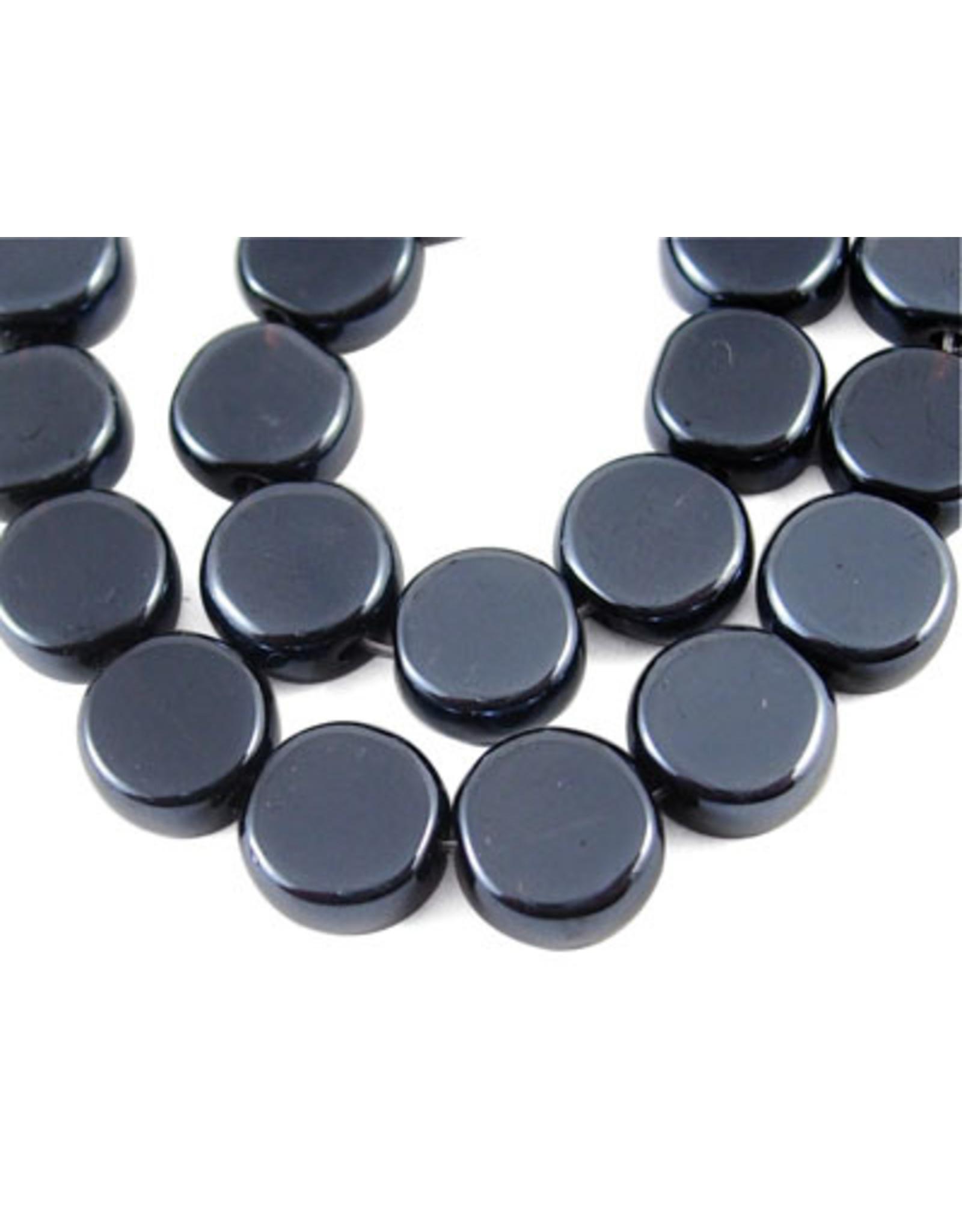 10mm Flat Round  Jet Black Pearl Gunmetal x45