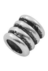 Grooved Tube Bead Antique Silver 9.5x9mm  x10 NF