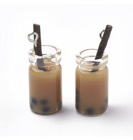 Bubble Tea Glass  Assorted Colours  27x12x10mm  x6  Random  Mix Pairs