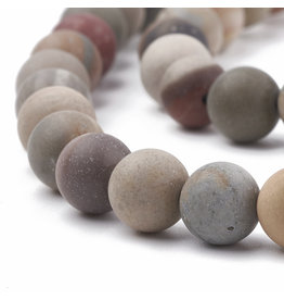 "Picture Jasper 8mm Brown/Grey Matte 15"" Strand Approx x46"