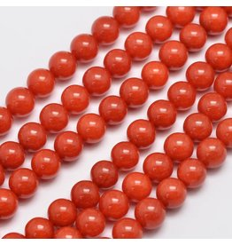 "Malaysia Jade Dyed 8mm Coral Red/Orange 15"" Strand Approx x46"