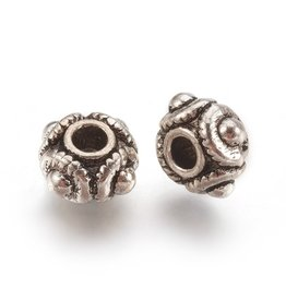 4 Dots Spacer Bead  Antique  Silver 8x5mm  x25  NF