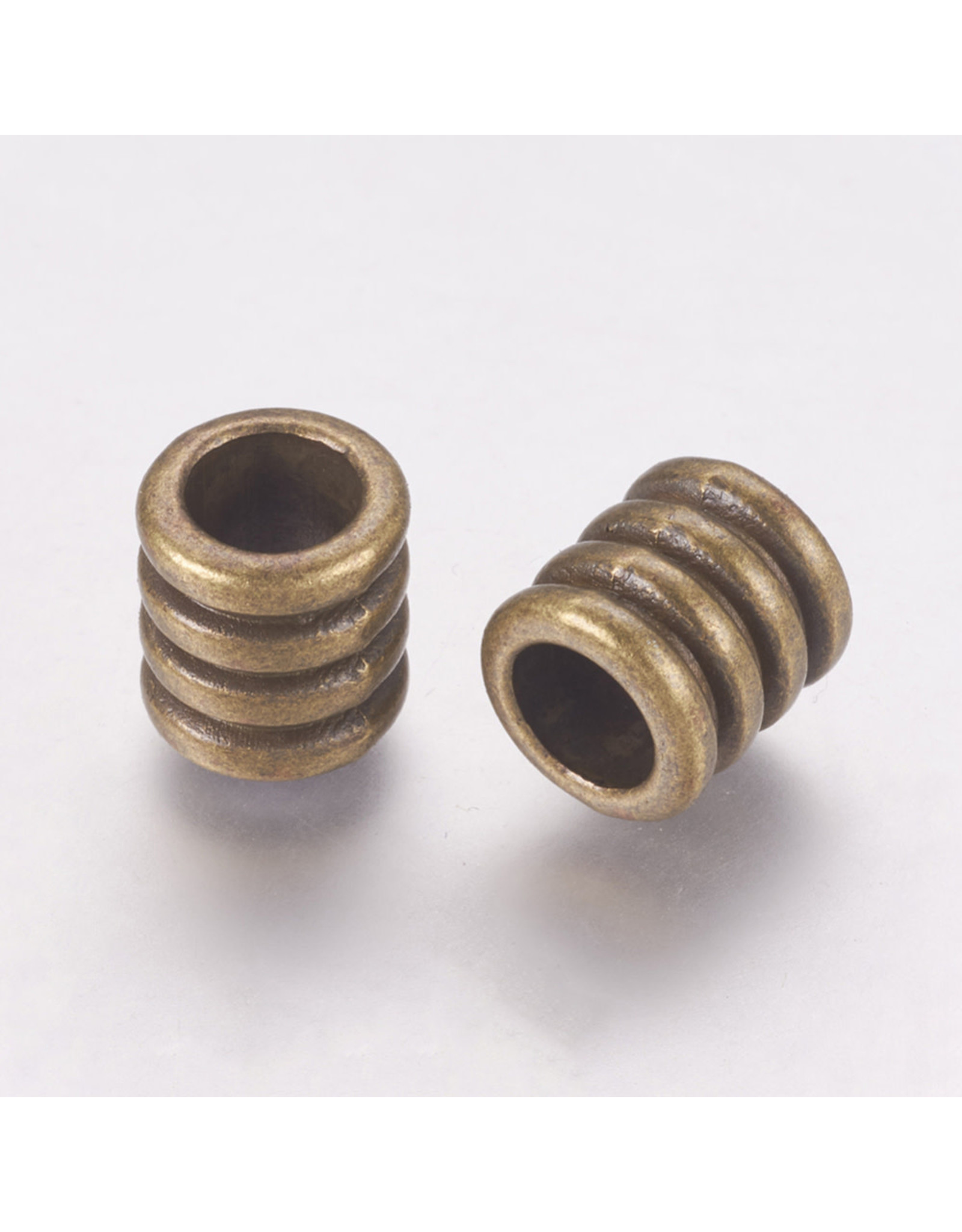 Grooved Tube Bead  Antique  Brass  9.5x9mm  x10  NF