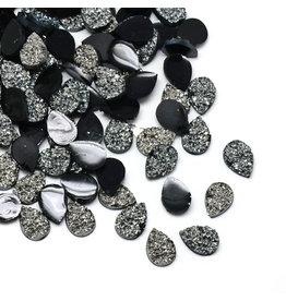 Druzy Drop  Resin Cabochon 14x10mm Dark Silver/Jet Black  x10
