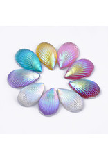 Shell Drop  Resin Cabochon 13x8mm Assorted Pairs  x10pcs