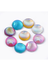 Shell Round  Resin Cabochon 10mm Assorted Pairs  x10pcs