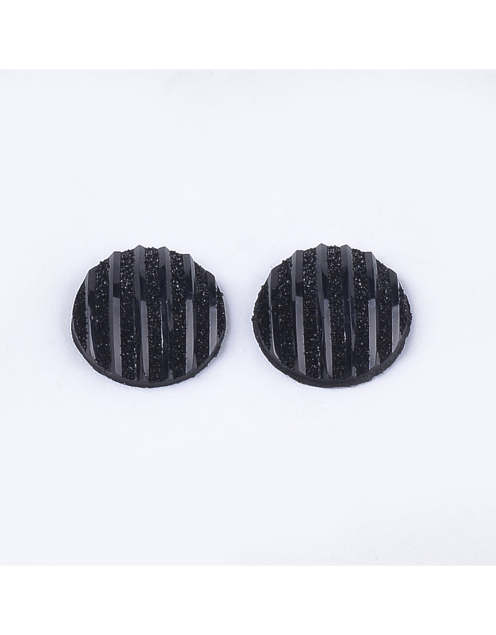 Stripes Round Resin Cabochon 12x3mm Jet Black x10