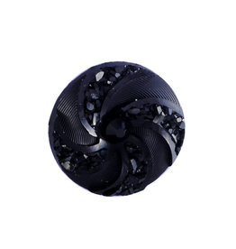 Swirl Round  Resin Cabochon 16x3mm  Jet Black  x10