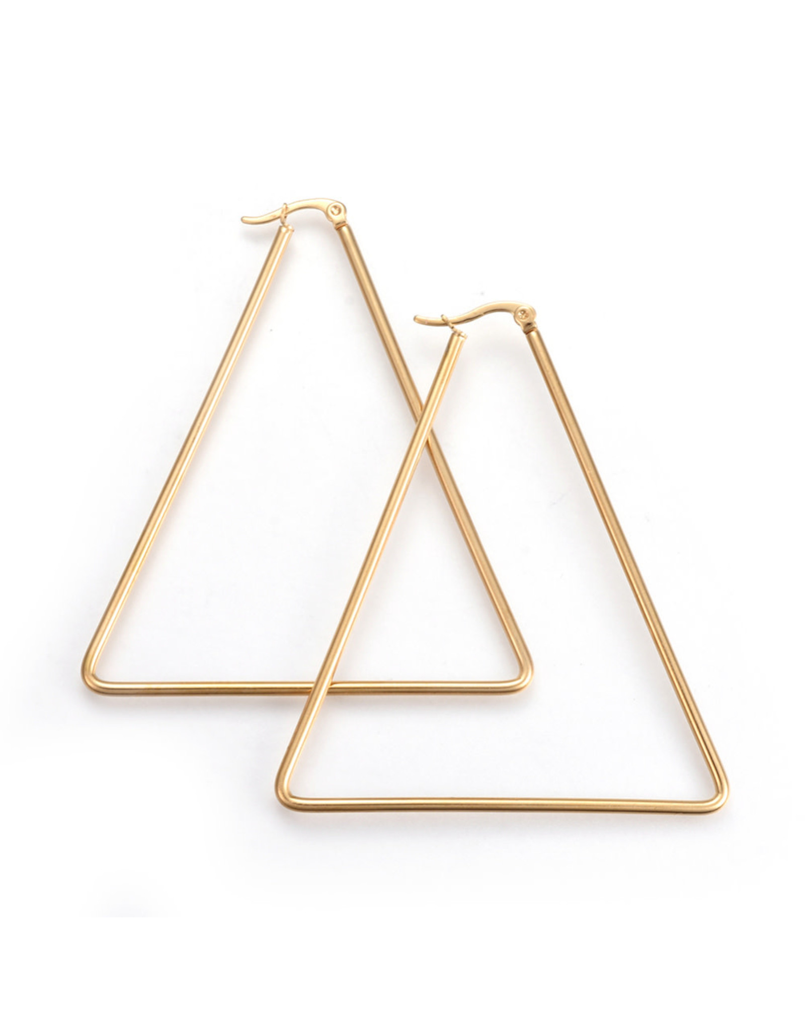 Hoop Earring Triangle  55x48mm Stainless Steel  Gold x1 Pair